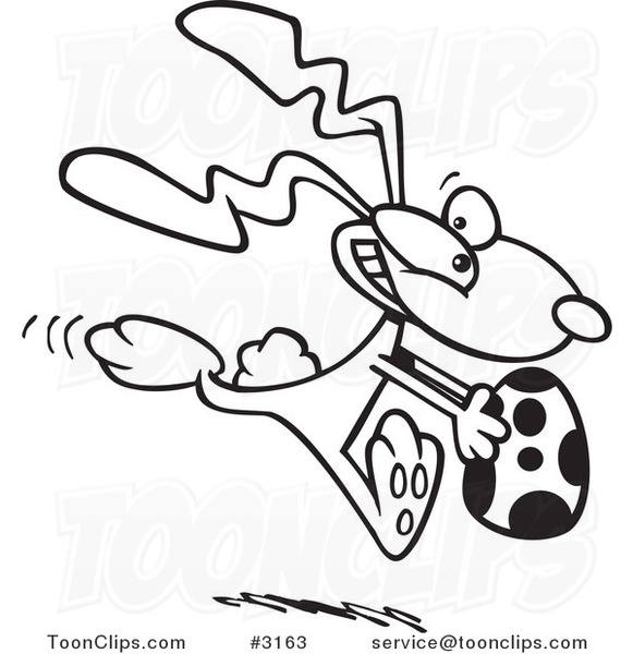 Line Art Easter Bunny : Cartoon black and white line drawing of a bunny running