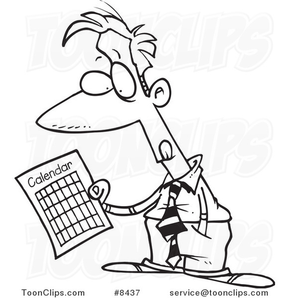 Calendar Drawing Cartoon : Line drawing of man with calendar new template site