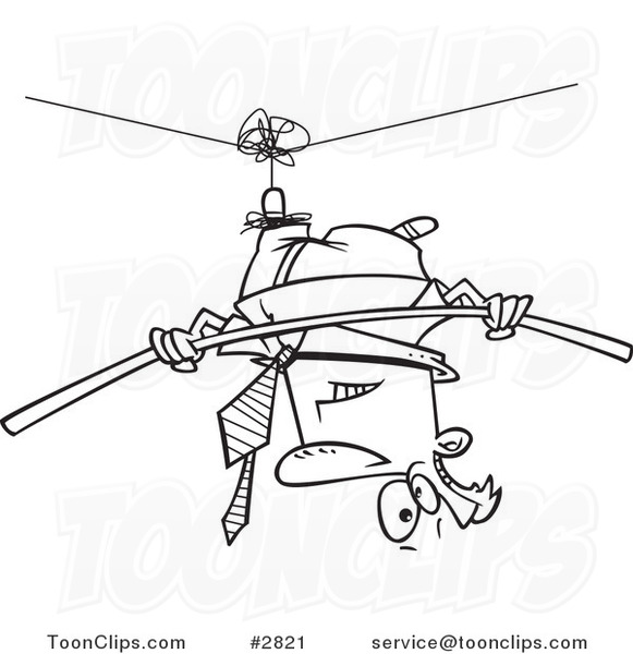 Line Drawing Upside Down : Cartoon black and white line drawing of a business man