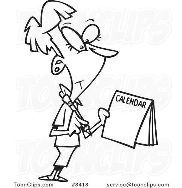 Calendar Drawing Cartoon : Cartoon black and white line drawing of a business woman