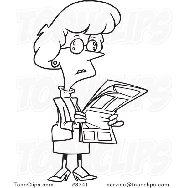 Line Drawing Newspaper : Cartoon black and white line drawing of a business woman