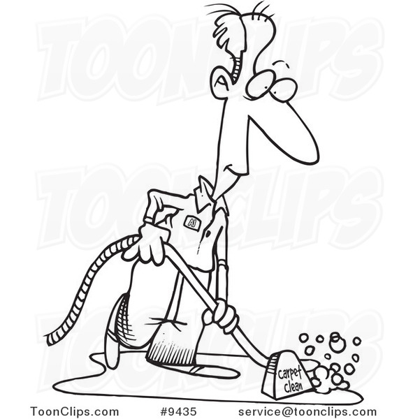 Cartoon black and white line drawing of a carpet cleaner for Drawing of carpet design