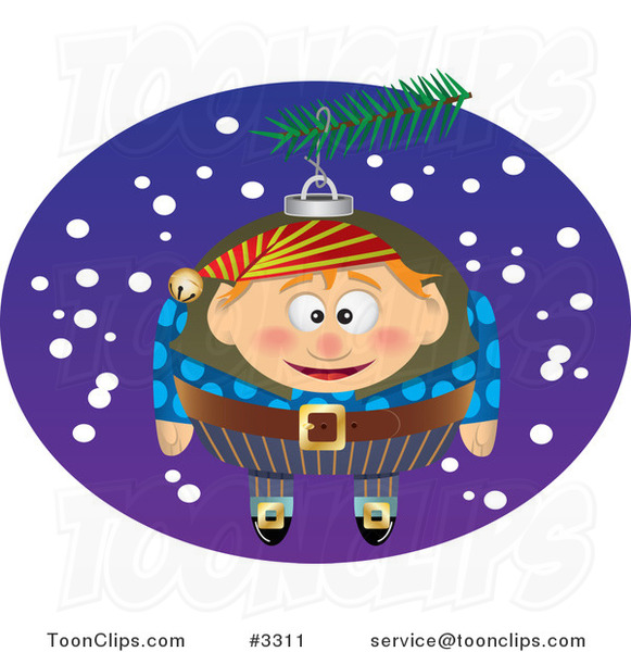Cartoon Black and White Line Drawing of a Christmas Elf Ornament - 3
