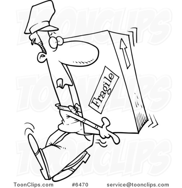Cartoon Black and White Line Drawing of a Delivery Guy Carrying a Heavy Box