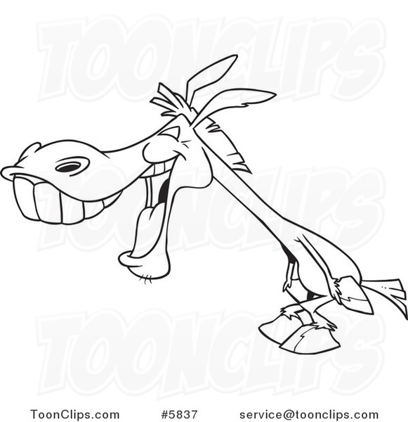 Line Drawing Donkey : Cartoon black and white line drawing of a donkey laughing