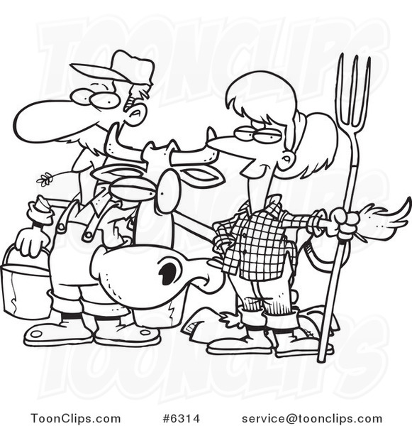 Cartoon Black and White Line Drawing of a Farmer Couple ...