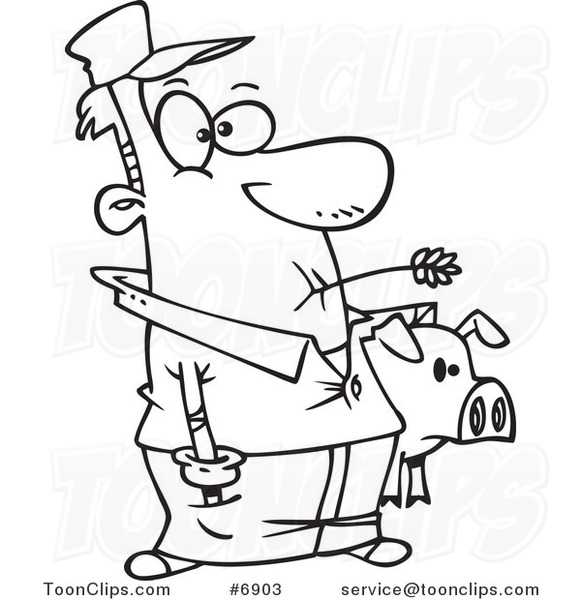 Cartoon Black and White Line Drawing of a Farmer Holding ...