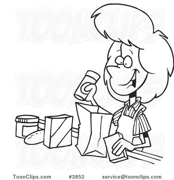 Cashier Cartoons: Cartoon Black And White Line Drawing Of A Friendly Cashier