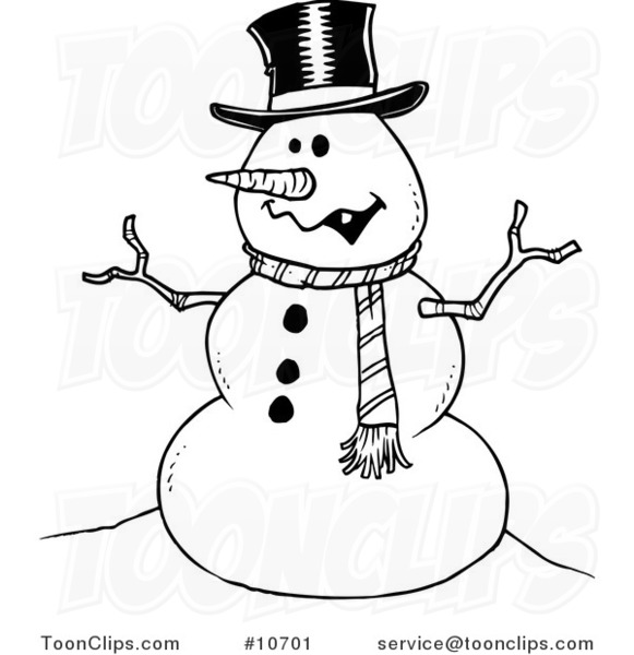 Cartoon Black and White Line Drawing of a Friendly Snowman ...