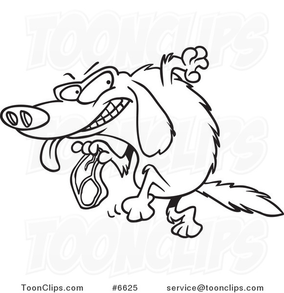 Line Drawing Golden Retriever : Cartoon black and white line drawing of a golden retriever
