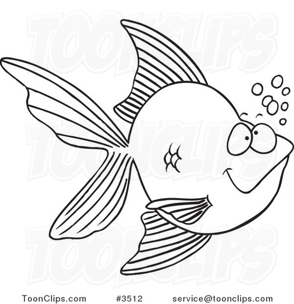 Cartoon Black and White Line Drawing of a Goldfish with ...