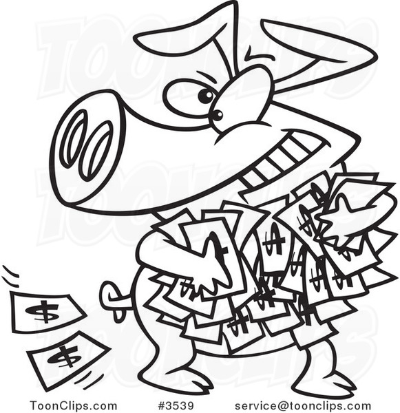 Line Drawing Money : Cartoon black and white line drawing of a greedy pig with