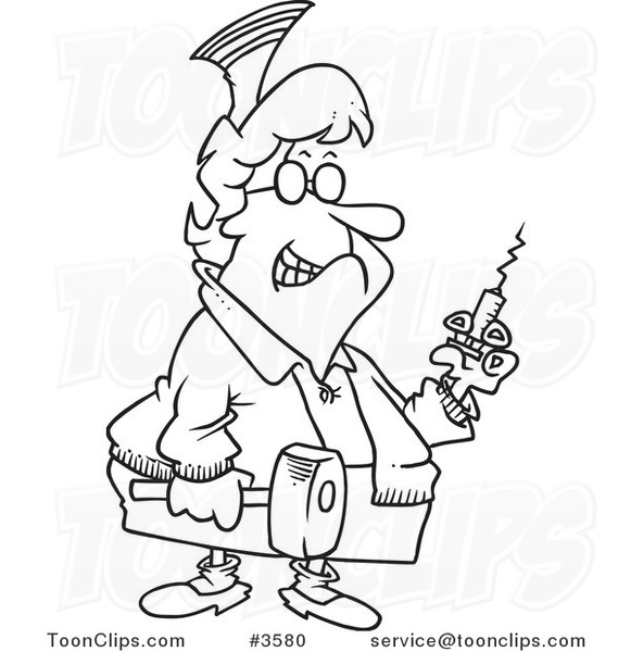 Line Drawing Nurse : Cartoon black and white line drawing of a grim nurse