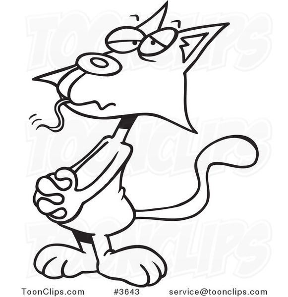 cartoon black and white line drawing of a guilty cat with