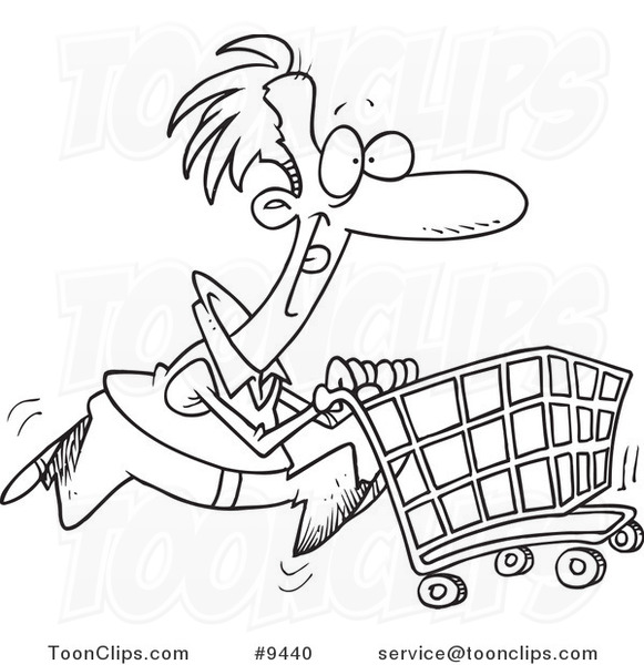 Cartoon Black And White Line Drawing Of A Guy Pushing A