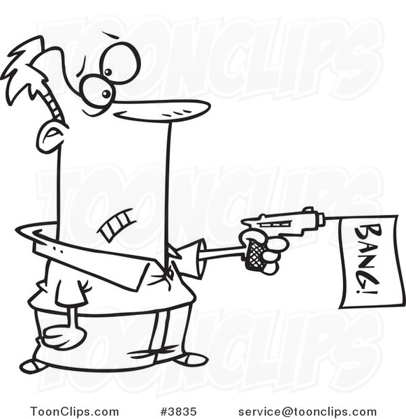 Cartoon Black And White Line Drawing Of A Guy Shooting A