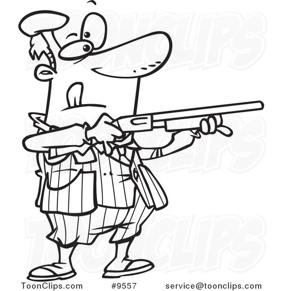 Cartoon Black And White Line Drawing Of A Guy Shooting