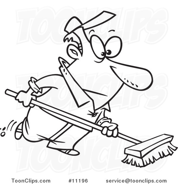 Cartoon Black And White Line Drawing Of A Guy Using A Push