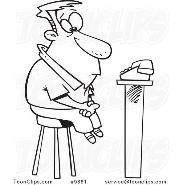 Cartoon Black and White Line Drawing of a Guy Waiting for ...