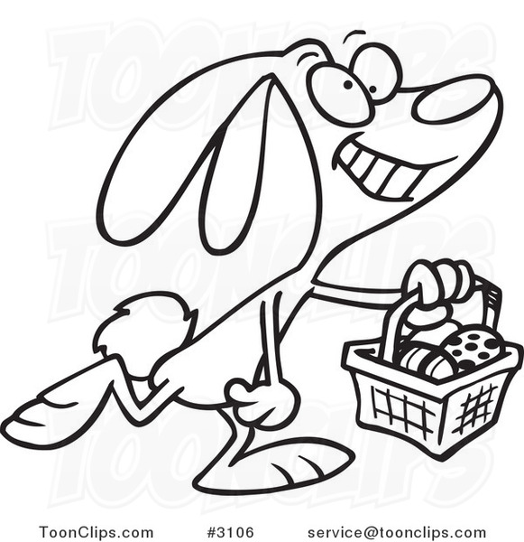 Line Art Easter Bunny : Cartoon black and white line drawing of a happy easter