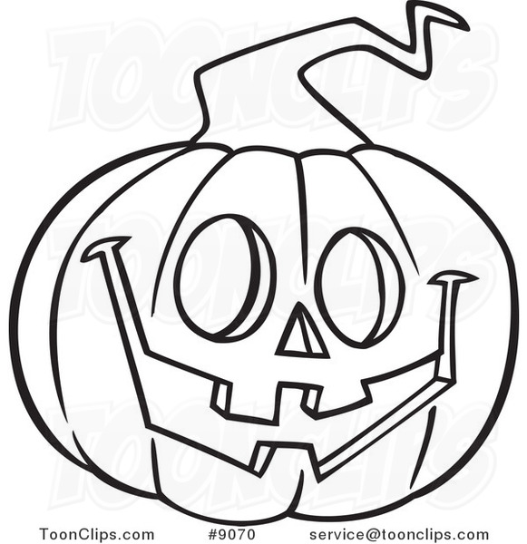 Cartoon Black and White Line Drawing of a Happy ...