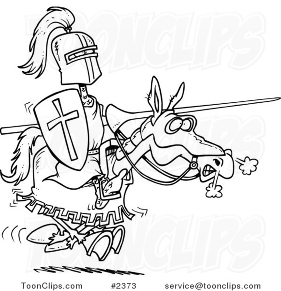 Cartoon Black And White Line Drawing Of A Jousting Knight