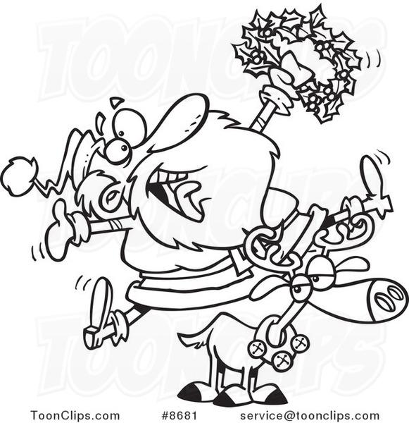 Line Drawing Reindeer : Cartoon black and white line drawing of a joyous santa