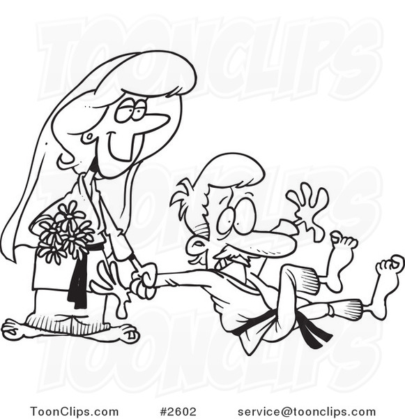 Line Drawing Wedding Couple : Cartoon black and white line drawing of a judo wedding
