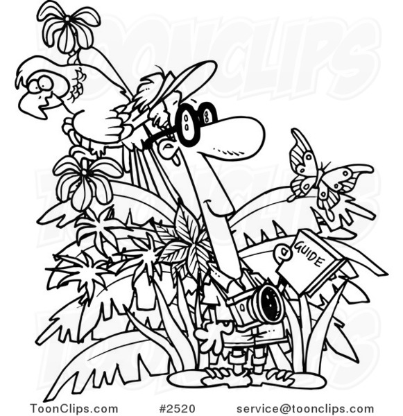 Line Drawing Jungle : Cartoon black and white line drawing of a jungle tourist