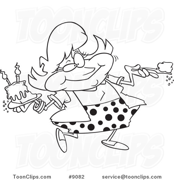 Cartoon Black and White Line Drawing of a Lady Eating Birthday