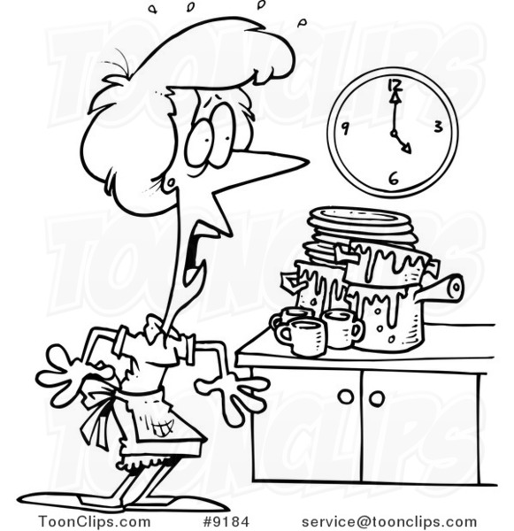 Messy Kitchen Clipart: Cartoon Black And White Line Drawing Of A Lady Panicking