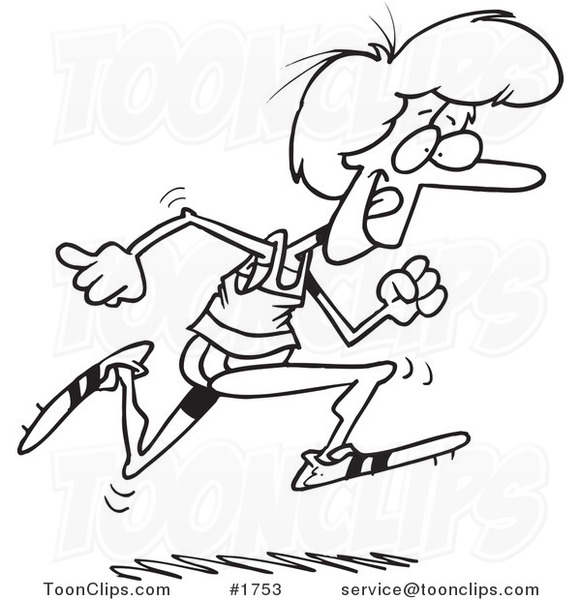 Line Drawing Lady : Cartoon black and white line drawing of a lady running