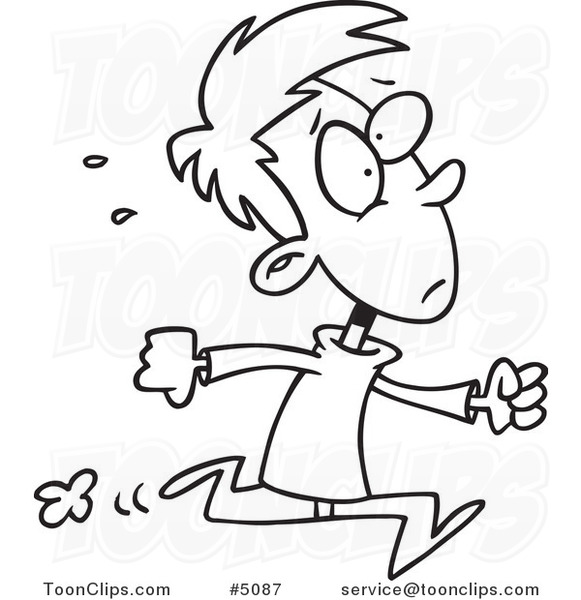 Cartoon Black And White Line Drawing Of A Late Boy Running
