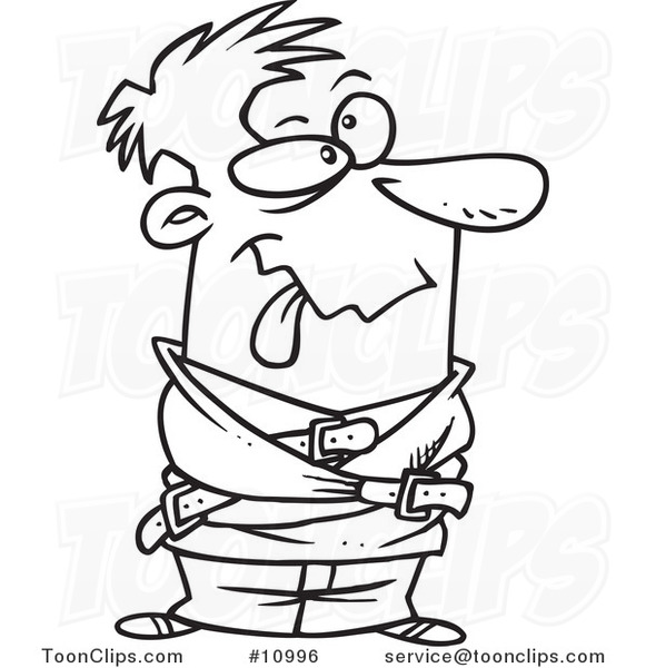 Cartoon Black and White Line Drawing of a Looney Guy in a Straight ...