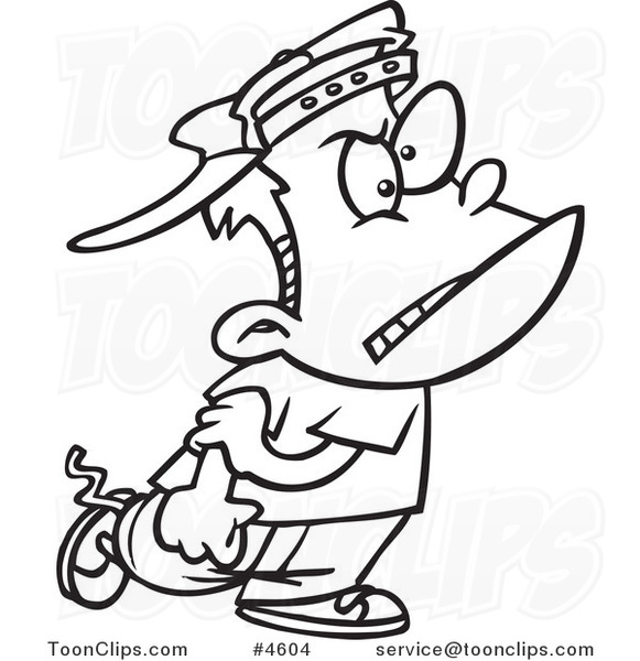 Lines Are Used In Art To Indicate : Cartoon black and white line drawing of a mean bully boy