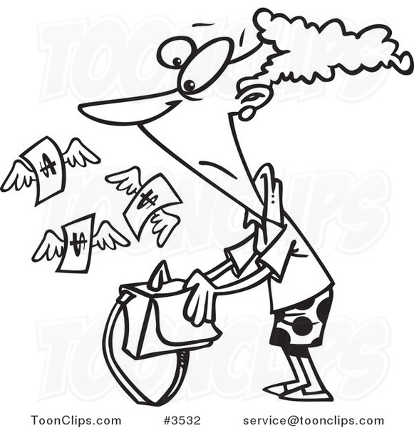 Line Drawing Money : Cartoon black and white line drawing of a money flying out