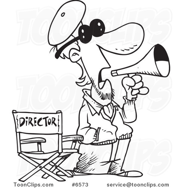 Drawing Lines Surf Movie : Cartoon black and white line drawing of a movie director