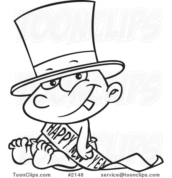 New Year S Line Art : Cartoon black and white line drawing of a new years baby