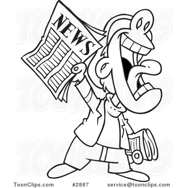 Line Drawing Newspaper : Cartoon black and white line drawing of a news boy yelling