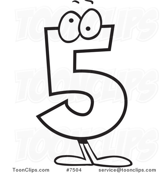 Line Drawing Numbers : Cartoon black and white line drawing of a number five