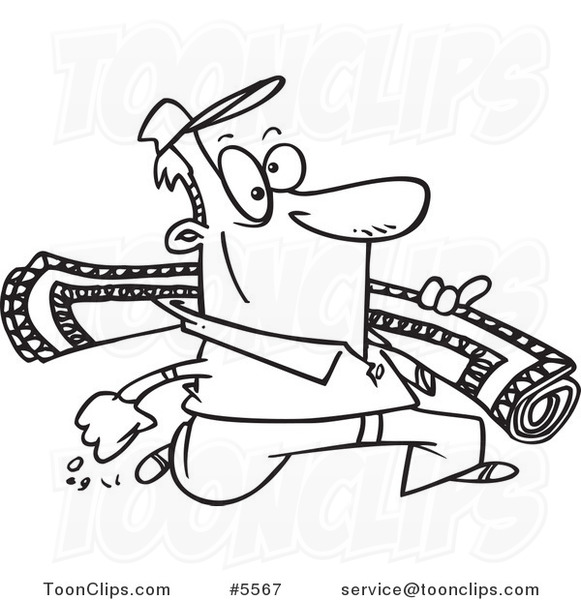 rug clipart black and white. cartoon black and white line drawing of a rug guy #5567 by ron leishman clipart