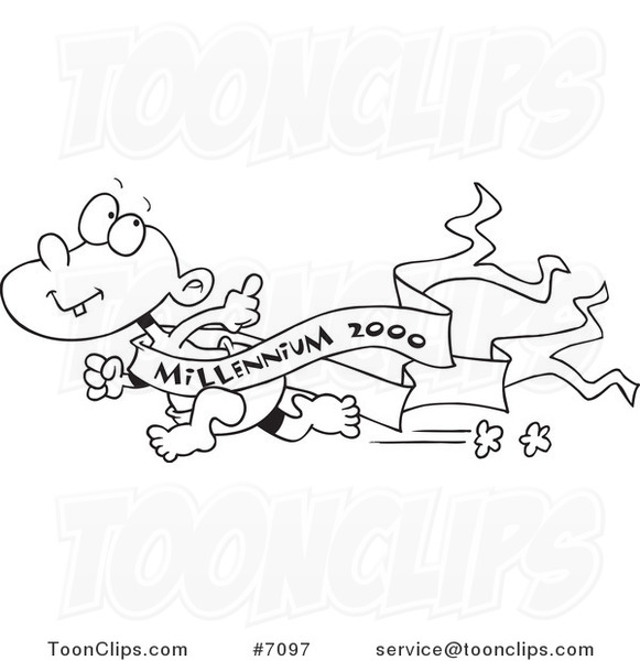 Line Drawing Year : Cartoon black and white line drawing of a running new year