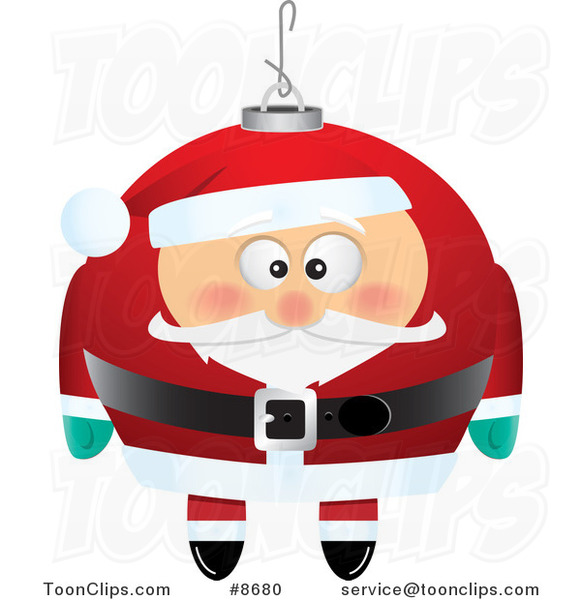Cartoon Black and White Line Drawing of a Santa Xmas Ornament