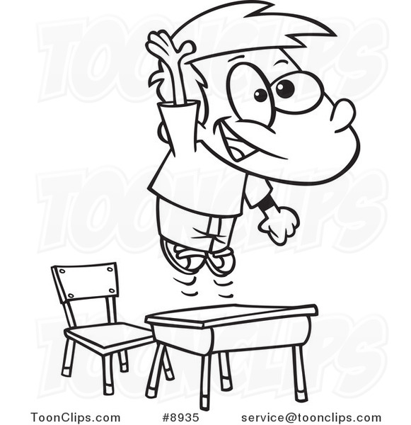 Cartoon Black and White Line Drawing of a School Boy ...