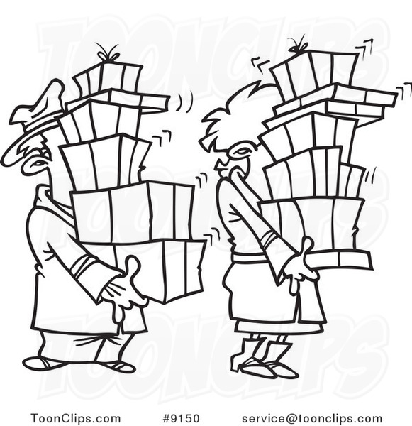 Cartoon black and white line drawing of a shaking couple for Drawing packages