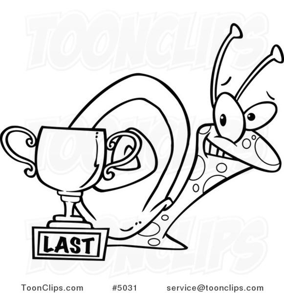 Cartoon Black And White Line Drawing Of A Snail By A Last