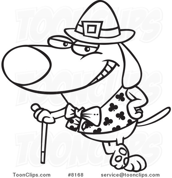Cartoon Black and White Line Drawing of a St Patricks Day Dog