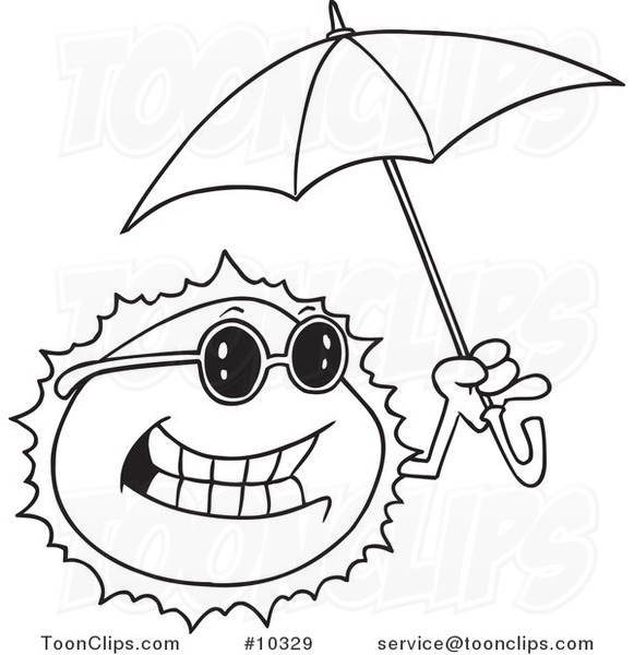 Line Drawing Sun : Cartoon black and white line drawing of a sun holding an
