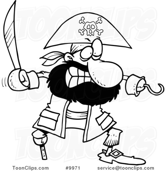 Cartoon Black And White Line Drawing Of A Tough Pirate