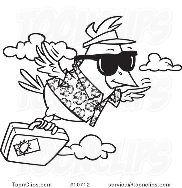 Flying bird cartoon black and white - photo#40